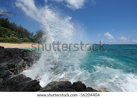 USA, Hawaii, Big Island. Wave in a lava flow. - stock photo