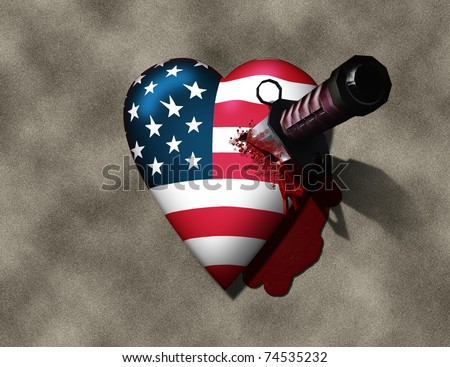 USA Heart Stabbed by Knife - stock photo