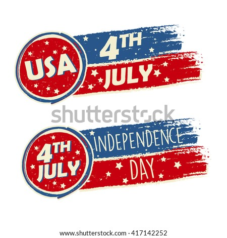 USA Independence Day and 4th of July with stars in drawing banners - American holiday concept - stock photo