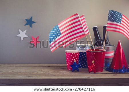 USA independence day celebration. Table arrangement for party - stock photo