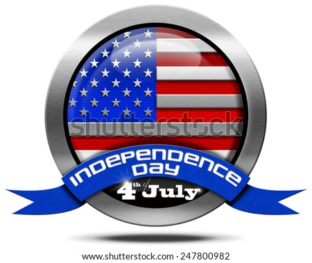USA Independence Day - Metal Icon. Metal icon with US flag and blue ribbon with text independence day 4th of july. Isolated on white background - stock photo