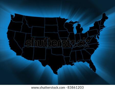 USA map - stock photo