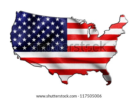 USA map and flag against white background - stock photo