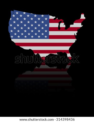 USA map flag with reflection illustration