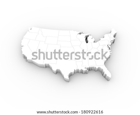 USA map in white with states and including a clipping path. High quality 3D illustration.  - stock photo