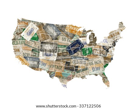 USA map. License plate - stock photo