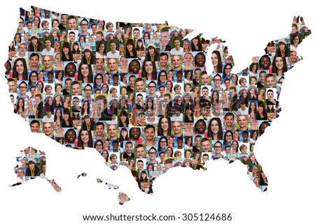 USA map multicultural group of young people integration diversity isolated - stock photo