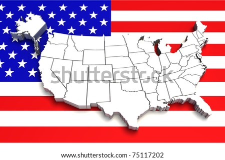 USA map on flag. 3d - stock photo