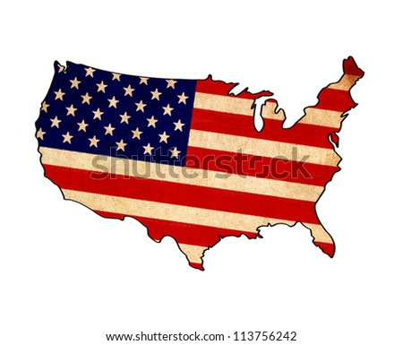 USA map on USA flag drawing ,grunge and retro flag series - stock photo