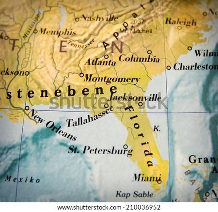 USA map part of a world globe - stock photo