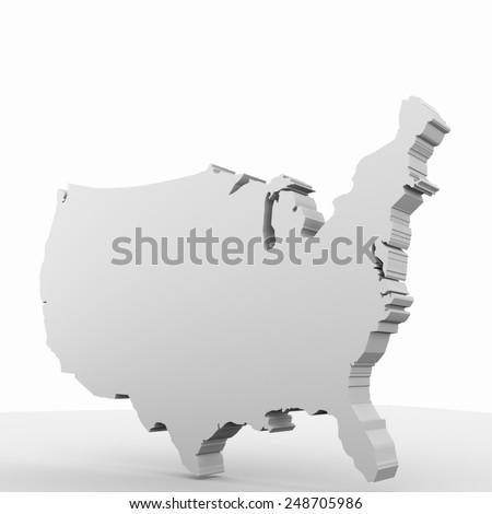 USA map Three-dimensional - stock photo