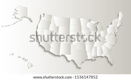USA Map Alaska Hawaii Map Separate Stock Illustration 1136147852 ...