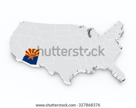 usa map with arizona state flag