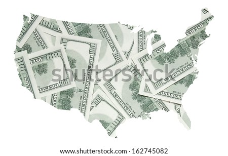 USA map with back side of one hundred dollars banknotes - stock photo
