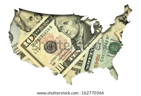 USA map with dollar banknotes background - stock photo