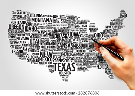 USA Map word cloud with most important cities - stock photo