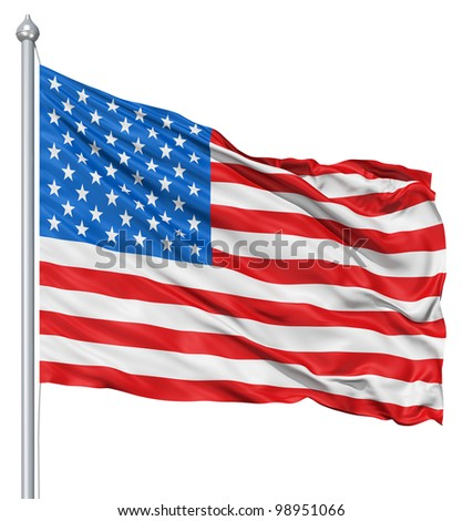 USA national flag waving in the wind - stock photo