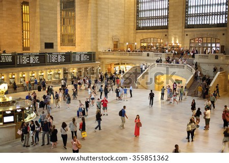 USA, NEW-YORK - 23 AUG, 2014: Many passengers and west balcony on the Grand Central Terminal. - stock photo