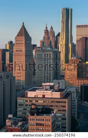 USA, NEW YORK CITY - April 27, 2012: New York City Manhattan skyline aerial view with street and skyscrapers - stock photo