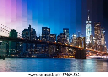 USA. New York City. Evening. View of the skyscrapers of Manhattan, the East river and the Brooklyn bridge.Fantastic Collage - stock photo