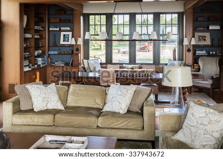 USA, NEW-YORK - 1 SEP, 2014: Comfortable room with many furniture and decoration. - stock photo