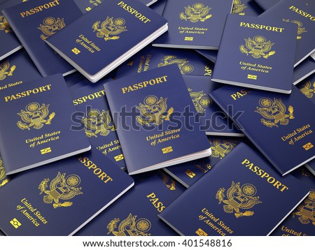 USA passport background. Immigration or travel concept. 3d illustration - stock photo