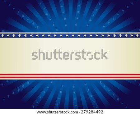 USA patriotic 4 th of july background design wth stars and stripes with starburst  - stock photo