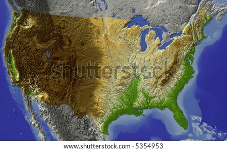 USA. Relief map of conterminous USA.  Shows major cities and rivers, surrounding territory greyed out.  Colored according to terrain height. - stock photo