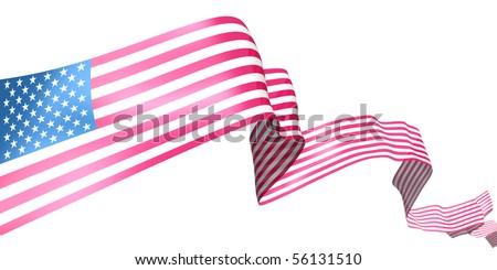 USA ribbon isolated on white - stock photo