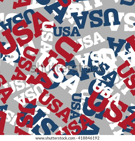 USA seamless pattern. National background. American texture. Patriotic ornament for America. United States America text pattern. Fabric texture - stock photo