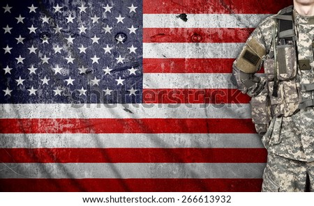 USA soldier on a american flag background - stock photo