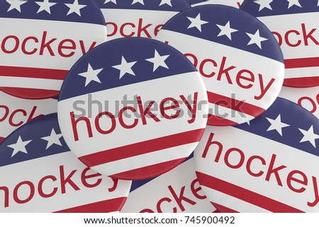 USA Sports Badges: Pile of Hockey Buttons With US Flag, 3d illustration