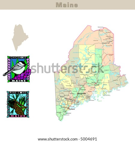 Maine Map Stock Images RoyaltyFree Images Vectors Shutterstock - Maine state usa map
