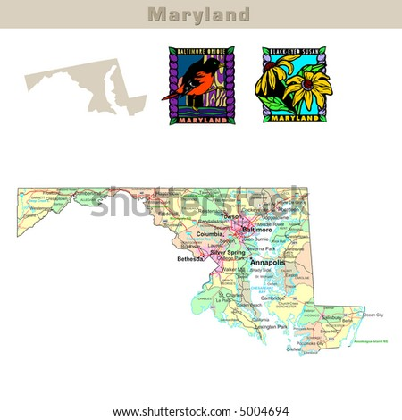 USA states series: Maryland. Political map with counties, roads, state's contour, bird and flower