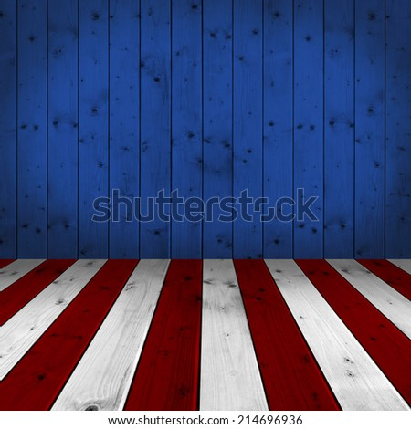 USA style background - empty wooden table for display montages - stock photo