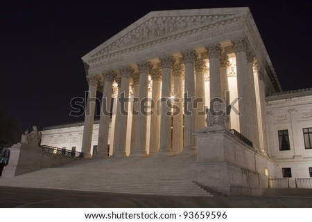 USA Supreme Court building in Washington, D.C. at night