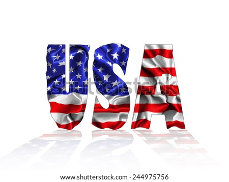 Usa text with American flag  and white background