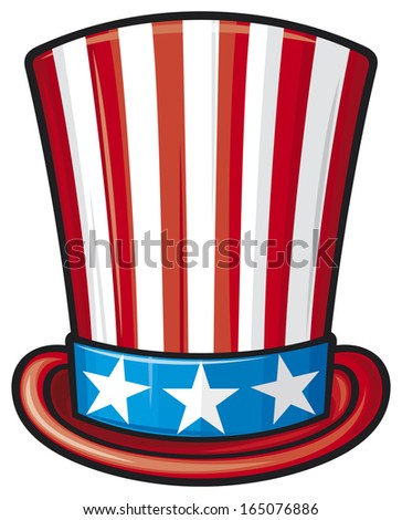 usa top hat (uncle sam top hat, top hat for independence day) - stock photo