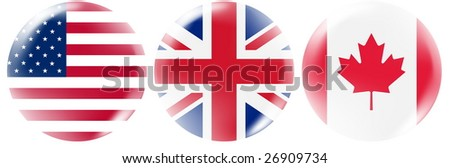 USA, UK, Canada flag buttons - stock photo