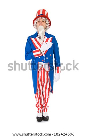 USA: Uncle Sam Says the Pledge Of Allegiance - stock photo