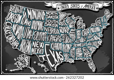 USA United States America Vintage Map on Old Vintage Blackboard. Retro Postcard  Illustration - stock photo