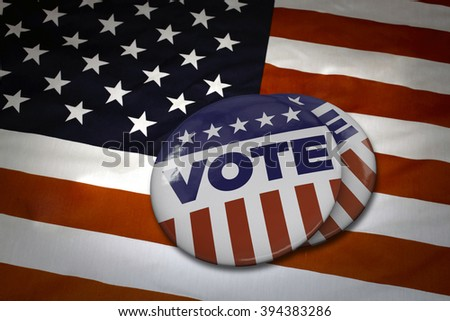 USA Vote button (pin badge) - stock photo