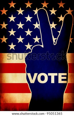 USA Vote - Victory gesture over national flag - stock photo