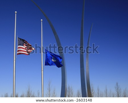 USAF Memorial in Arlington, VA on a Cold Winter Day - stock photo