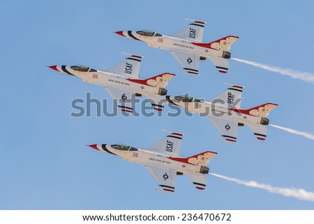 USAF Thunderbirds perform air show routine during Aviation Nation at Nellis AFB on November 8,2014 in Las Vegas,NV. Squadron is the official air demonstration team for the USAF.