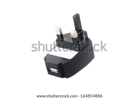 USB AC Adapter isolated on white background - stock photo