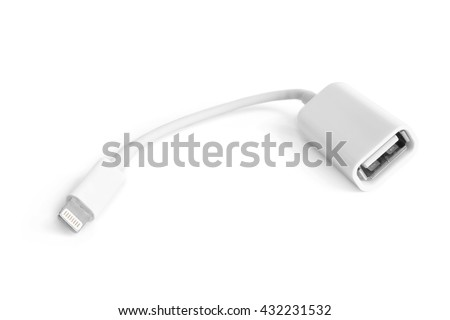 USB adapter on a white background - stock photo