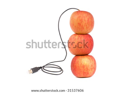 USB apple, someday we can deliver real apple by internet, or computers need green energy... - stock photo