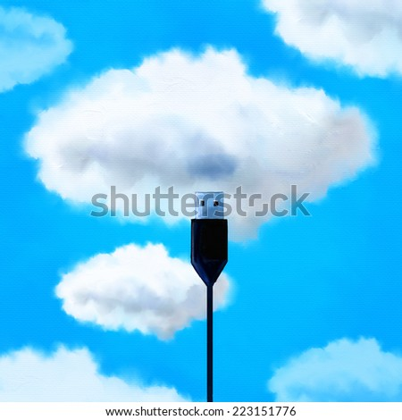 Usb cable against blue cloudy sky. Cloud computing concept. - stock photo