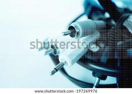 Usb Cable And Av Connector Background Series,Filters Look - stock photo